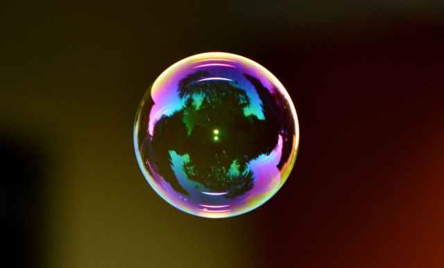 colorful ball float soap bubble
